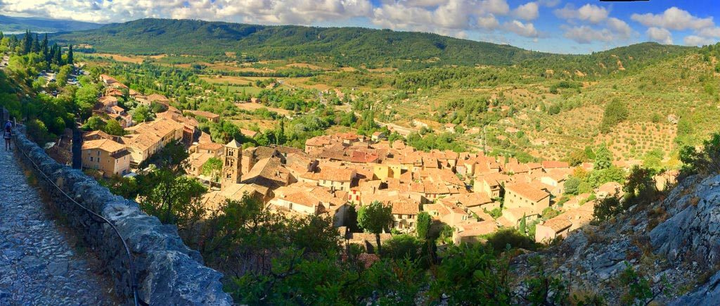 Looking down on Moustiers Saint Marie from the mountaintop chapel.
