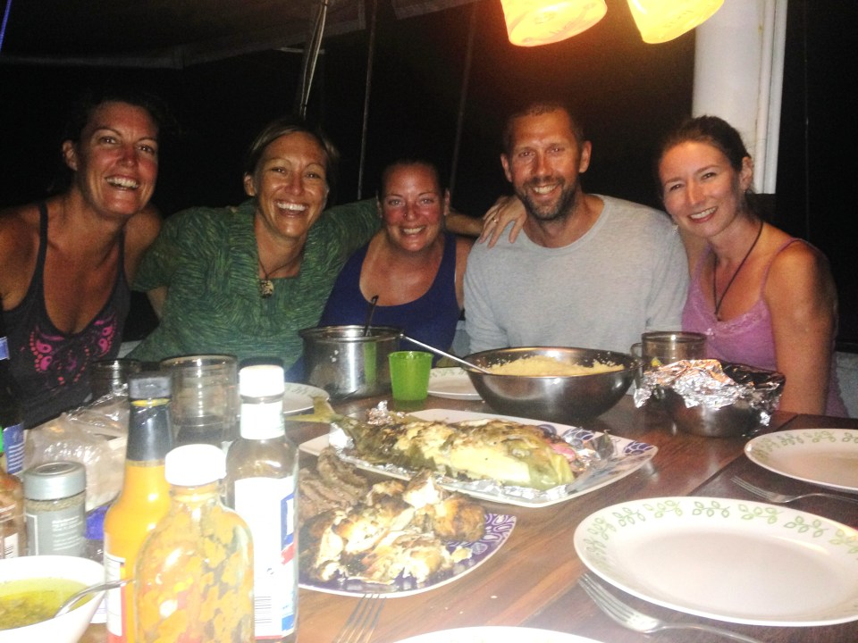 From left, Cathy, Maria, heir two guests Jodie and Pete, and of course Sarah on board S/V Joana for a lovely dinner of fresh-caught snapper and not-too-bad Panamanian boxed wine (and rum......... always rum).