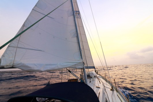 A view of Bob around sunset on our sail from Cartagena to San Blas