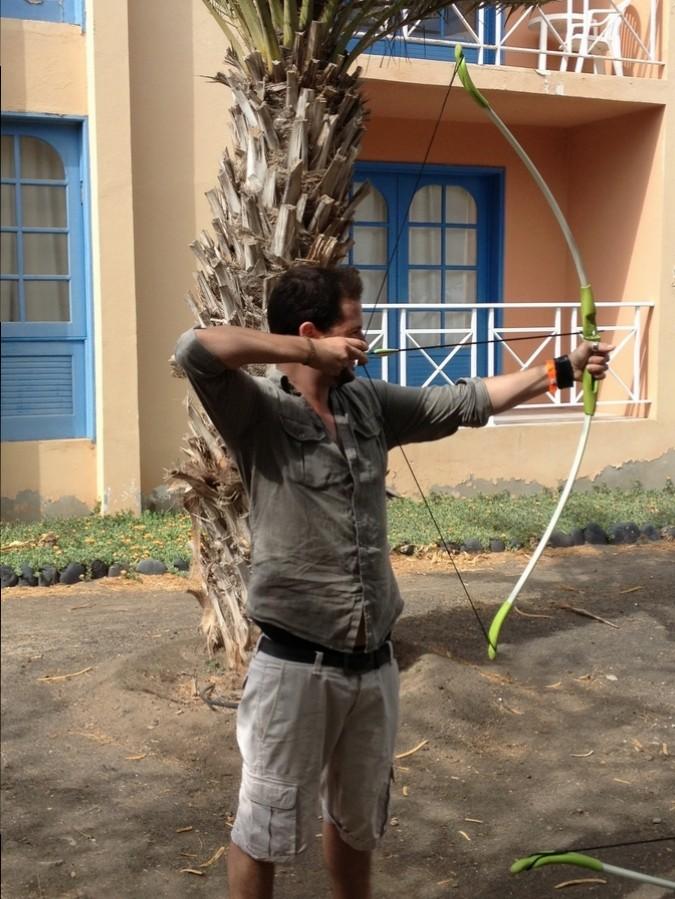 Séb trying archery - Foya Branca Hotel , São Vicente, Cape Verde