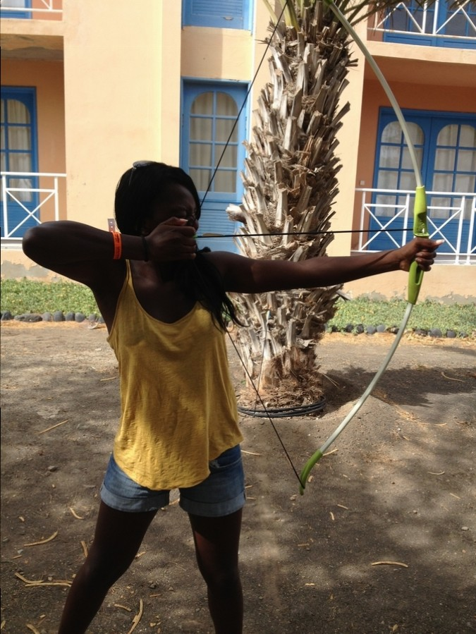 Nath trying archery - Foya Branca Hotel , São Vicente, Cape Verde