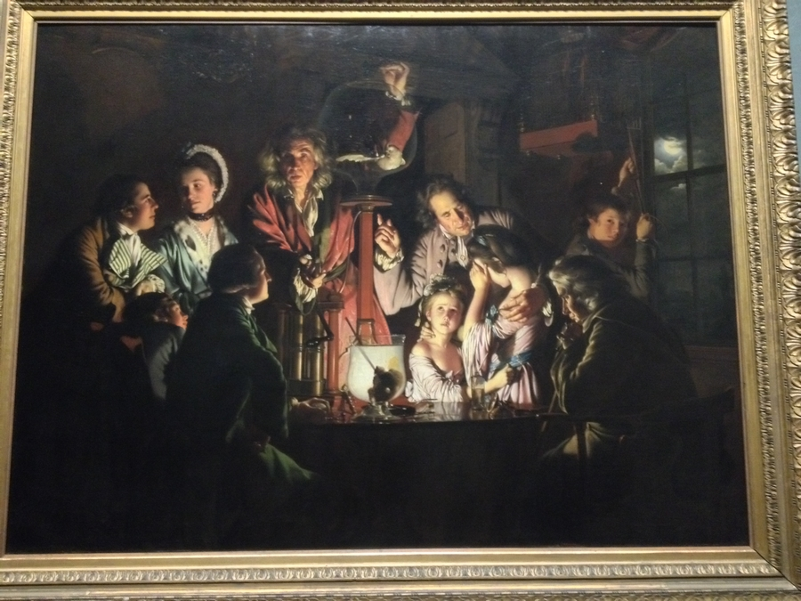 """""""L'expérience avec l'oiseau dans une pompe à air"""" de Joseph Wright de Derby - National Gallery, Londres, Angleterre"""