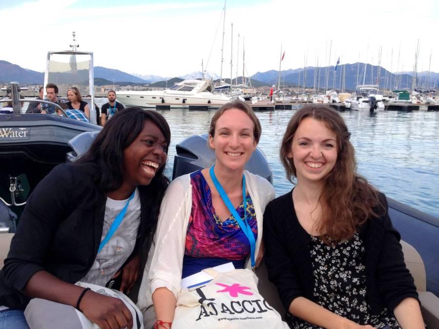 Nath, Amandine and Audrey on the boat to the Sofitel - Ajaccio, Corsica