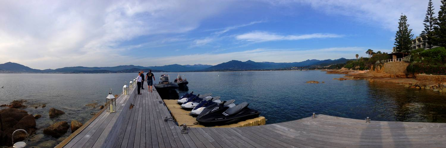 Panorama from the Sofitel pontoon - Ajaccio, Corsica