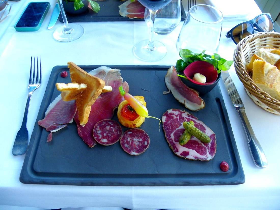 Charcuterie slate plate at la Marinuccia restaurant - Saint-Florent, Corsica