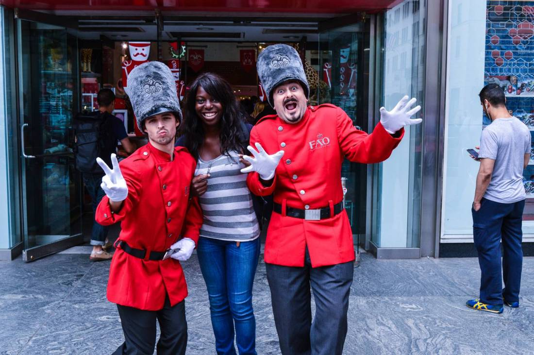Nath with a FAO Schwarz toy soldiers- New York City, United States