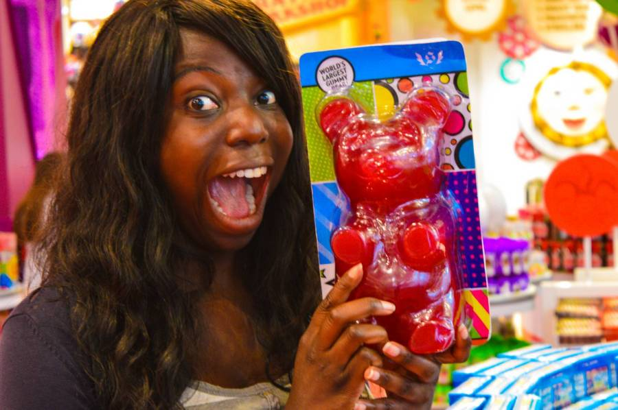 Nath with the biggest gummy bear in the world at FAO Schwarz - New York City, United States