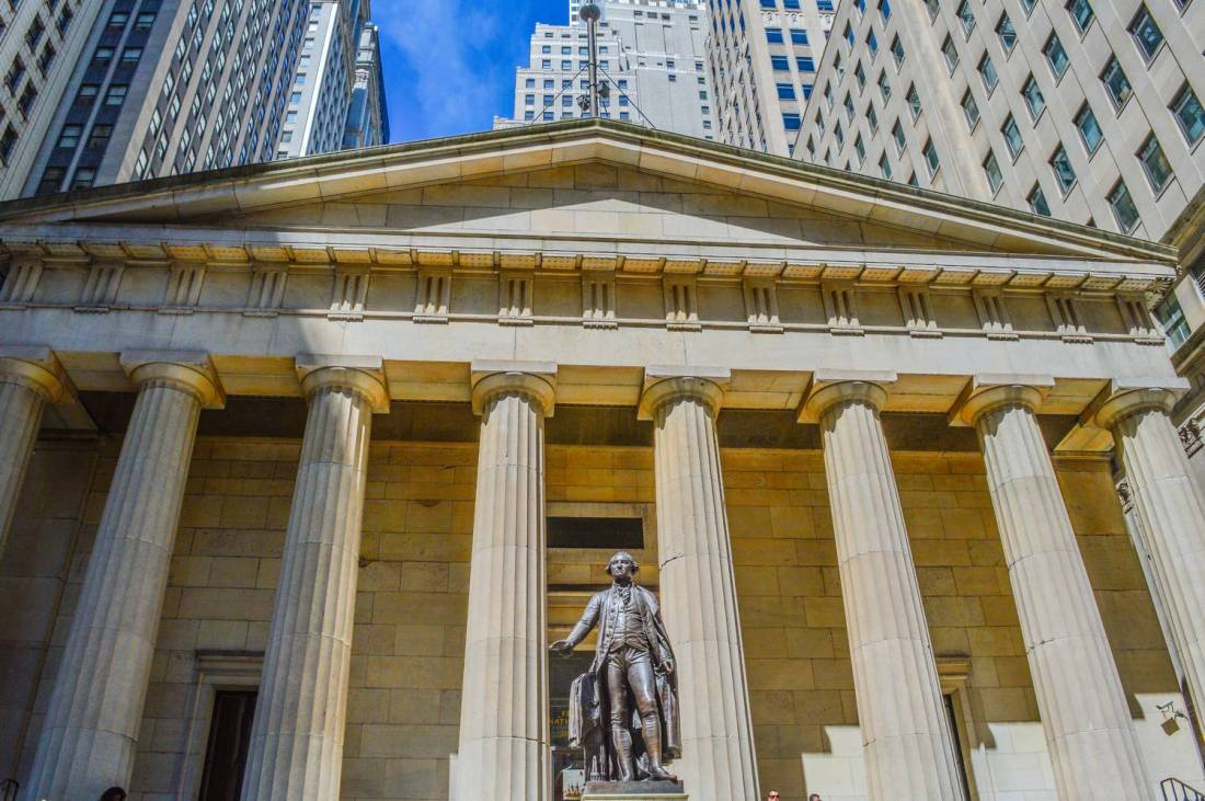 The Federal Hall in Wall Street - New York, United States
