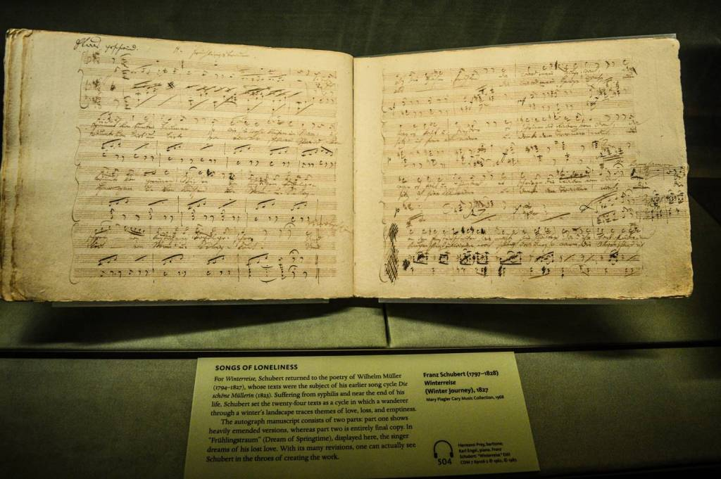 Partition manuscrite de Schubert au Morgan Library and Museum - New York, Etats-Unis