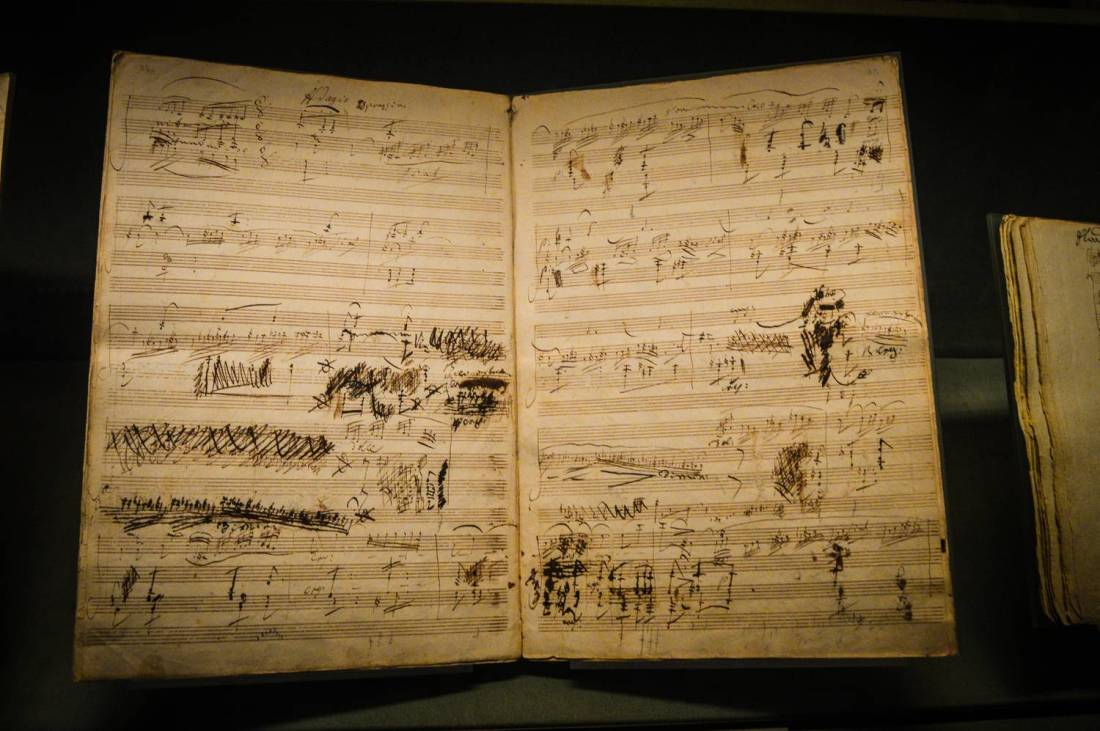 Beethoven hand-written musical score at the Morgan Library and Museum - New York City, United States
