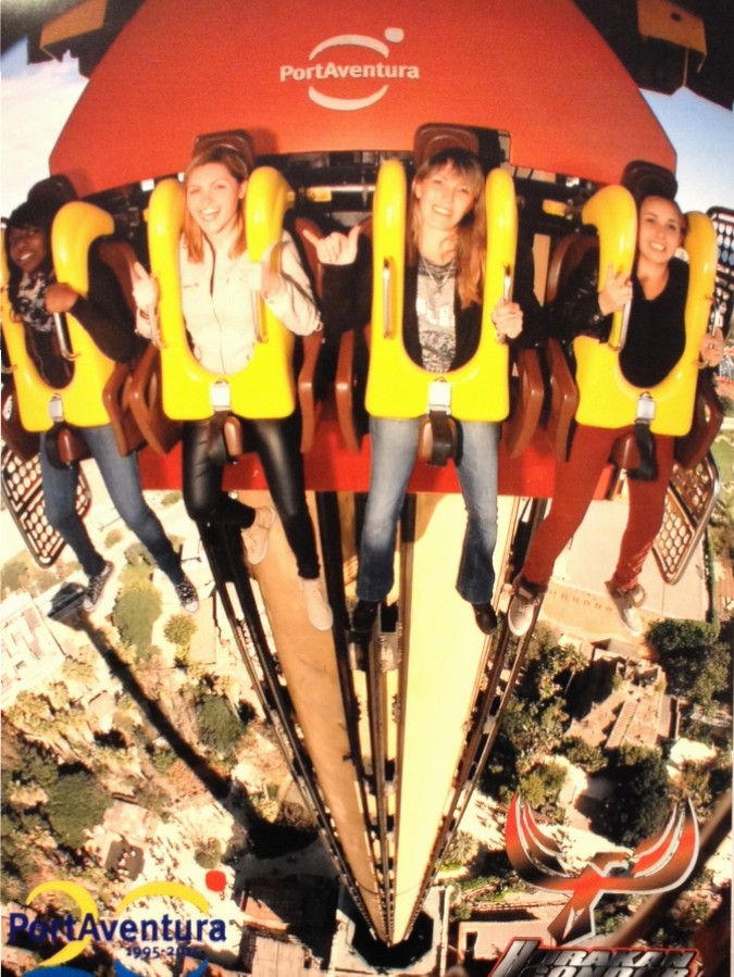 Nath and friends in the Hurakan Condor in Port Aventura - Salou, Spain