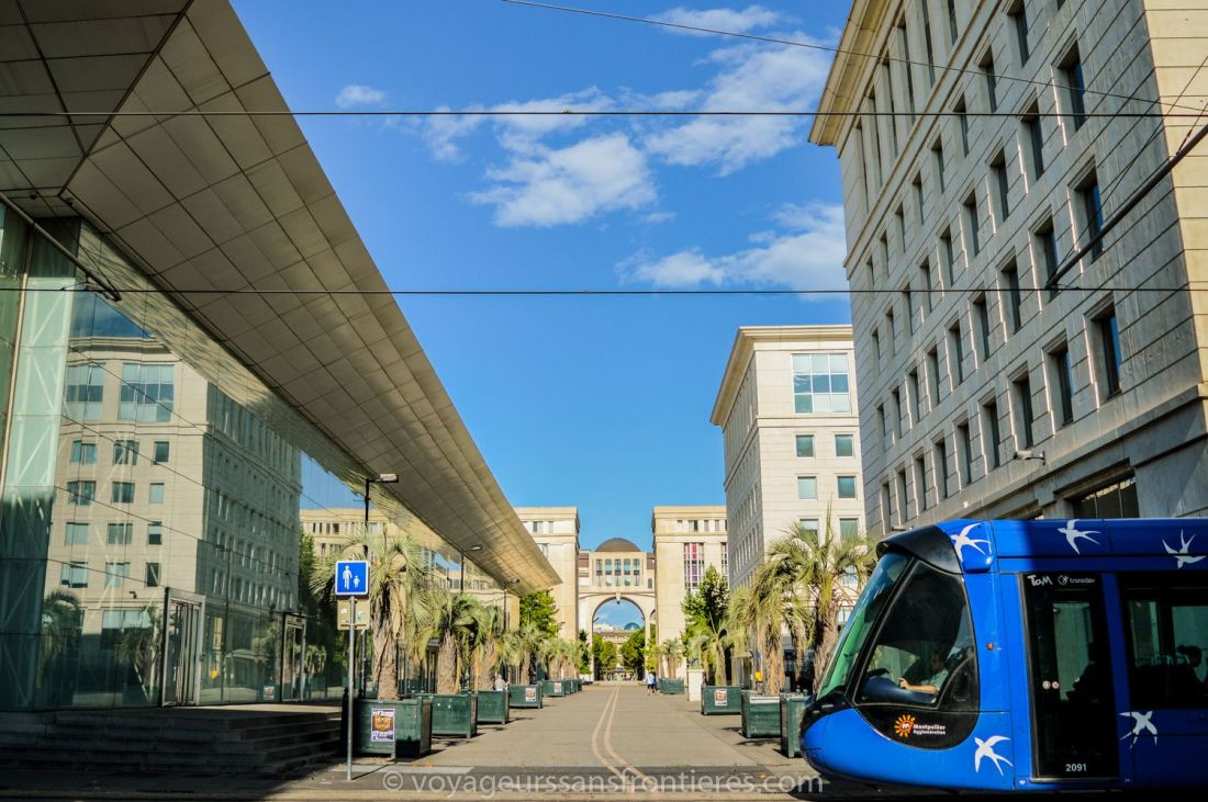 The tramway in the Antigone district - Montpellier, France