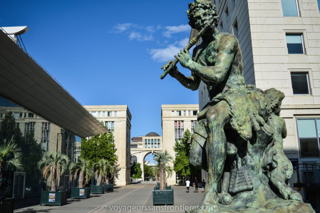 Dionysos statue in the Antigone district - Montpellier, France