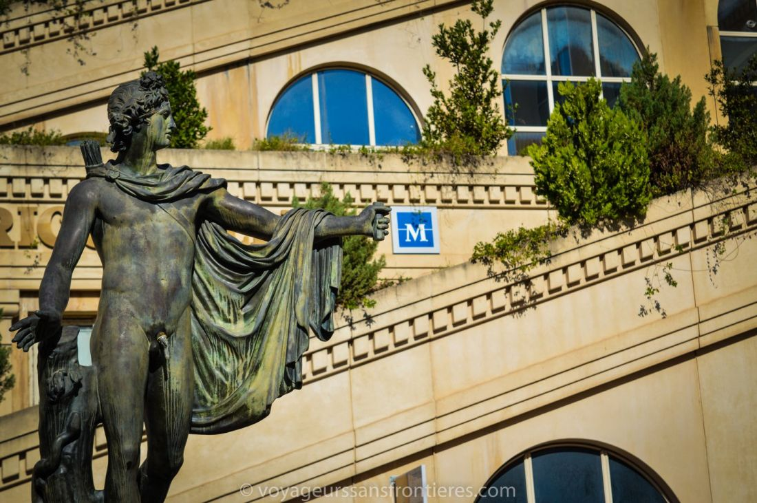 Apollo statue behind the Polygone mall - Montpellier, France