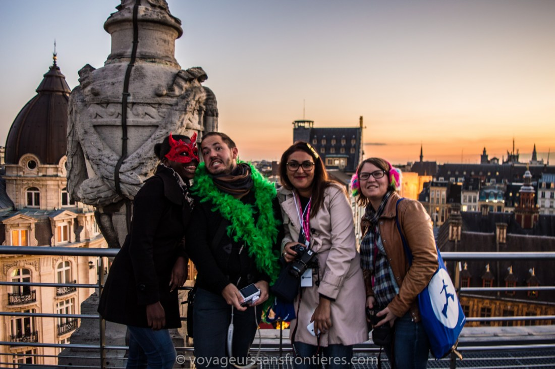 Nath, Fred, Kaouthare and Claire from the rooftop of Lille's Opera - Lille, France