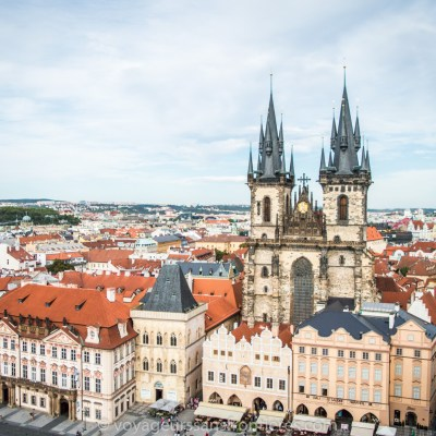 View on the Church of our Lady before Tyn from the Old Town Tower - Prague, Czech Republic