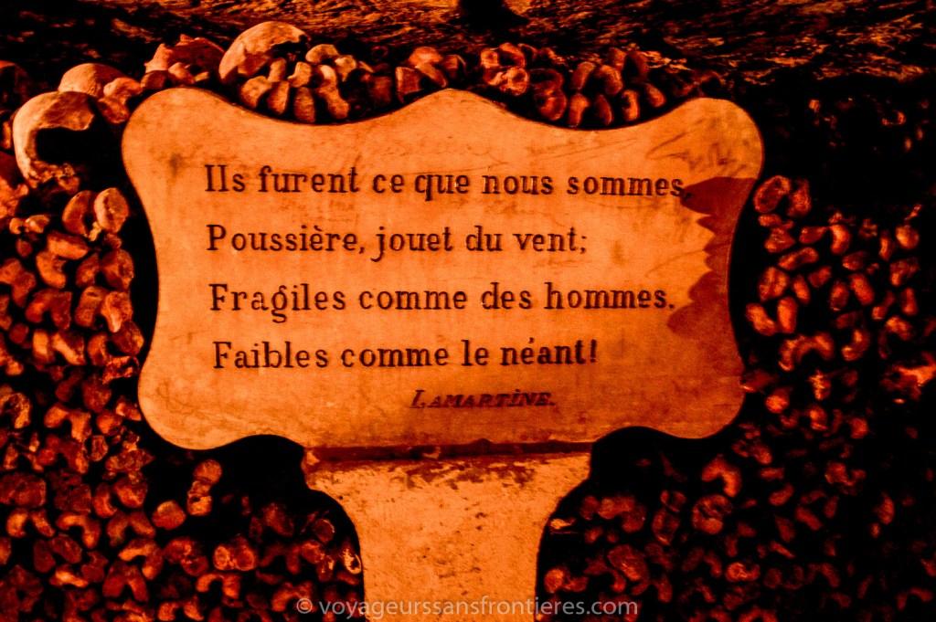 Citation de Lamartine - Les Catacombes de Paris, France