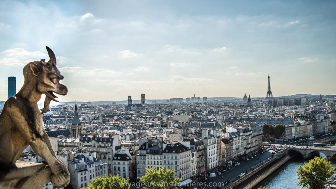 View over Paris with a gargoyle from Notre-Dame de Paris - Paris, France