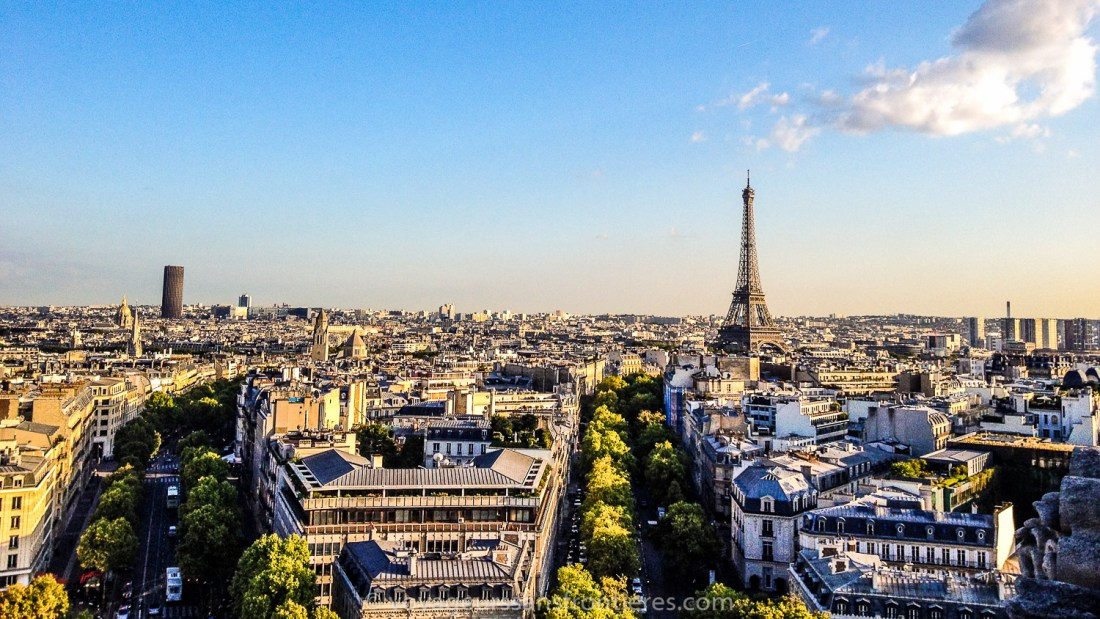 View over the Eiffel Tower from the Arc de Triomphe - Paris, France
