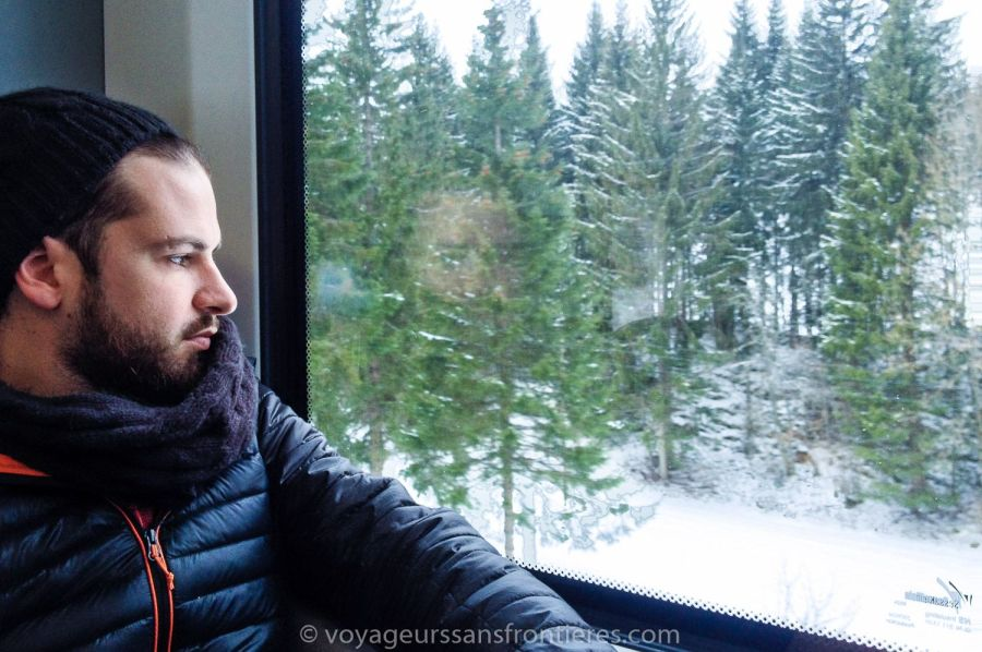 Séb in the train going to the Vallée de Joux - Switzerland