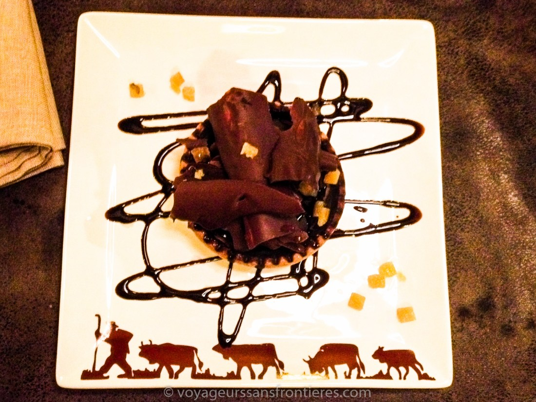 Chocolate tart at the Les Lilas Hotel restaurant - Les Diablerets, Switzerland