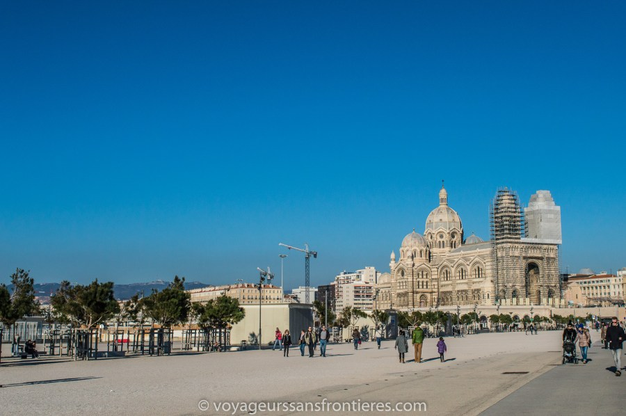 View on the La Major Cathedral from the Mucem - Marseille, France