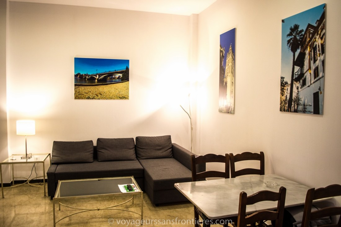 Living room in our apartment at the Patio de la Cartuja booked with Bookbedder - Seville, Spain