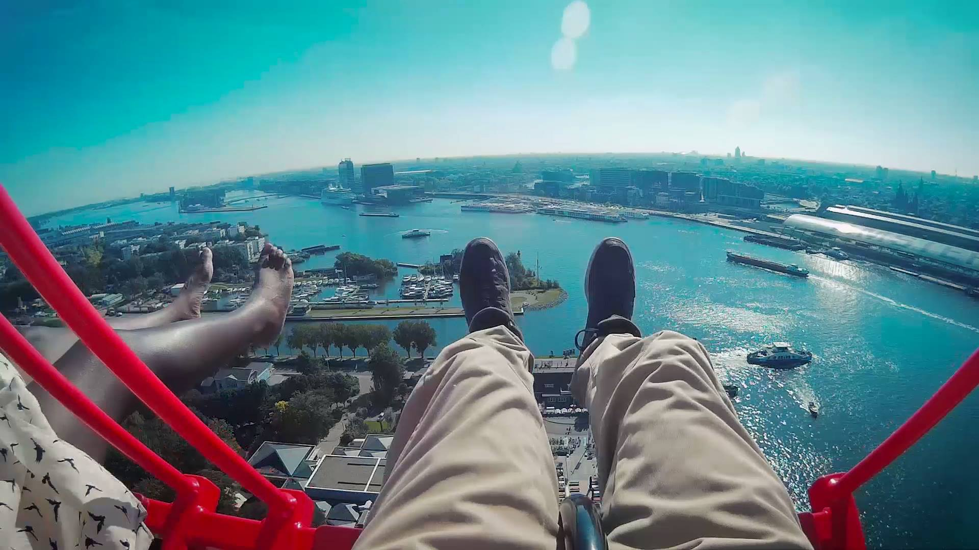 Nath and Séb on the A'Dam Lookout swing - Amsterdam, Netherlands