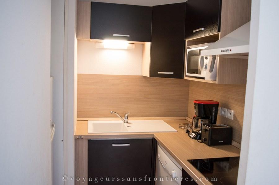 Kitchen of our apartment at the Domaine de la Vallée d'Ax - Ax-les-Thermes, France