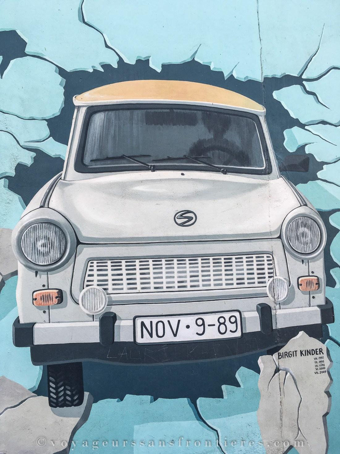 Street art piece at the East Side Gallery - Berlin, Germany