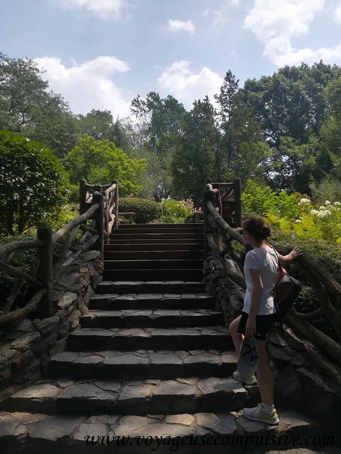 Les escaliers qui mènent à Shakespeare Garden de Central Park