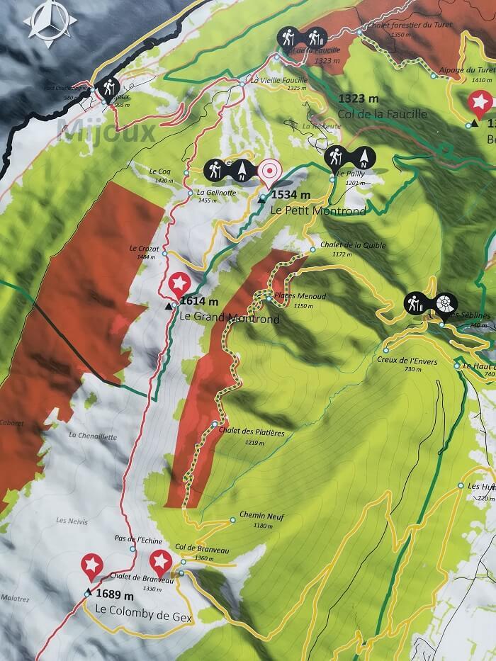 Plan des randonnée au départ du col de la Faucille dans le Pays de Gex.