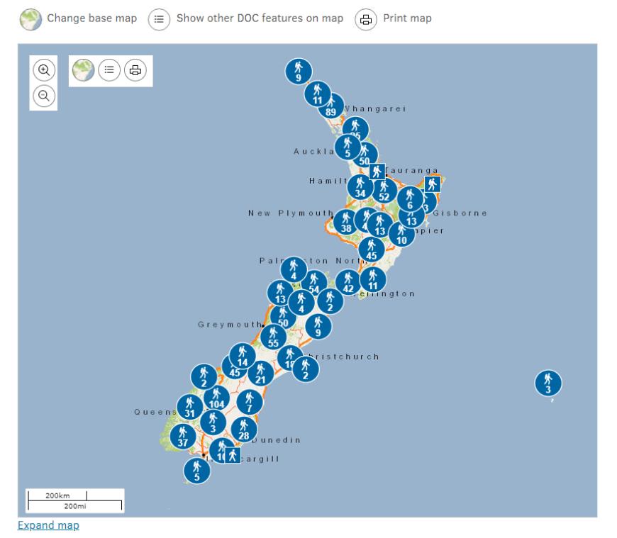 carte randonnées Nouvelle-Zélande DOC