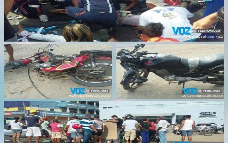 Acidente entre duas motos deixou três pessoas feridas na BR-408 em Carpina