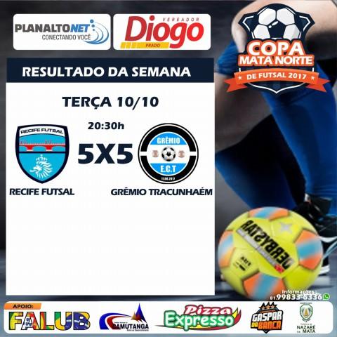 Copa Mata Norte de Futsal: Em jogo de dez gols, Grêmio de Tracunhaém e Recife ficam no empate