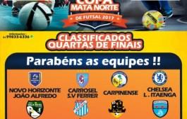 Definidos os confrontos das quartas-de-finais da Copa Mata Norte de Futsal 2017