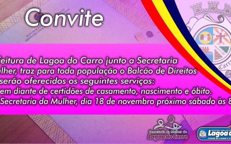População de Lagoa do Carro terá Balcão de Direitos com serviços oferecidos no próximo sábado (18)