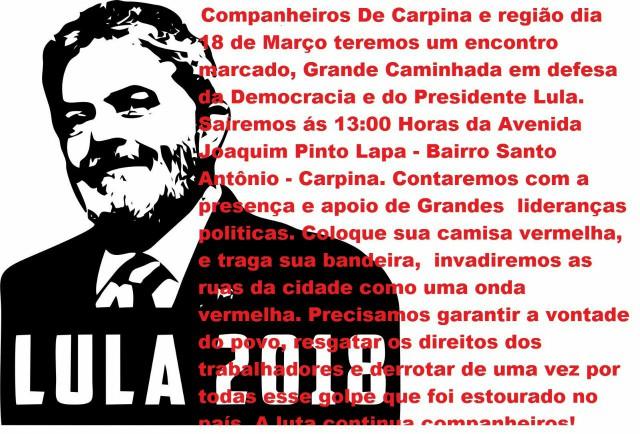 Grande caminhada e carreata será realizada em defesa de Lula em Carpina