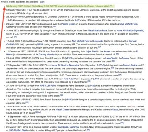 P-3 notable events accidents and incidents