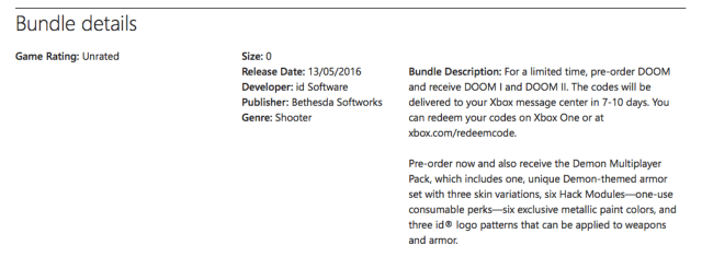 A screenshot of the leaked page shows the contents of DOOM Pre-Order Bundle.