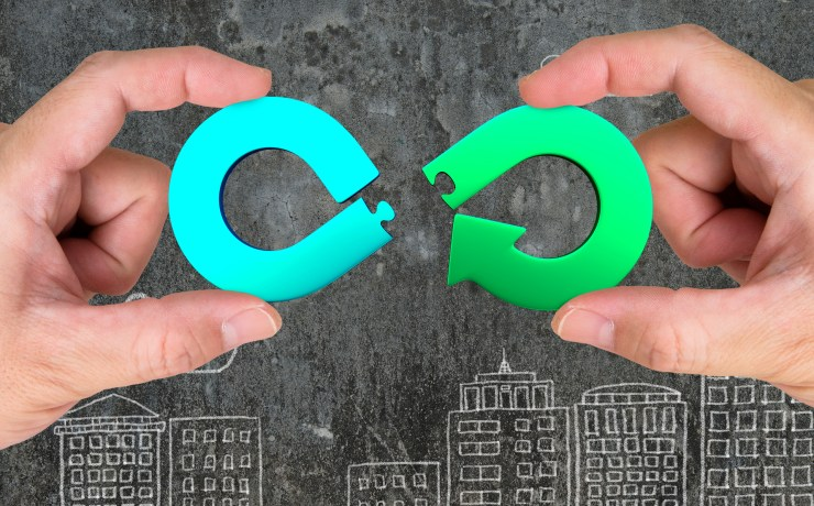 Circular,Economy,Concept.,Two,Hands,Assembling,Arrow,Infinity,Recycling,Symbol