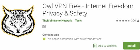 Owl VPN Free For Windows