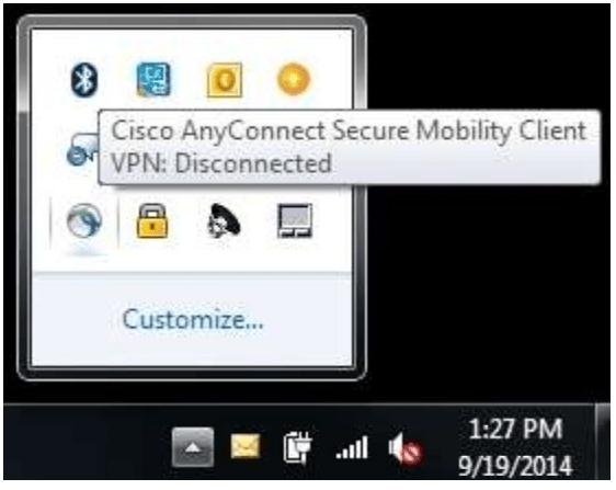 Cisco AnyConnect Secure Mobility Client Taskbar