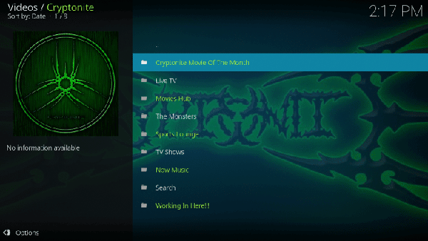 Cryptonite - addon for Live TV