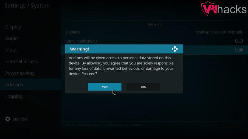 kodi warning