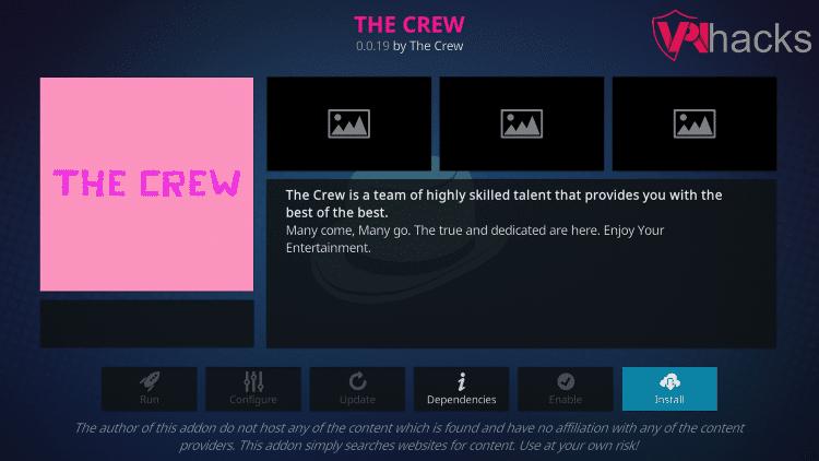 Install The Crew Kodi Addon Button