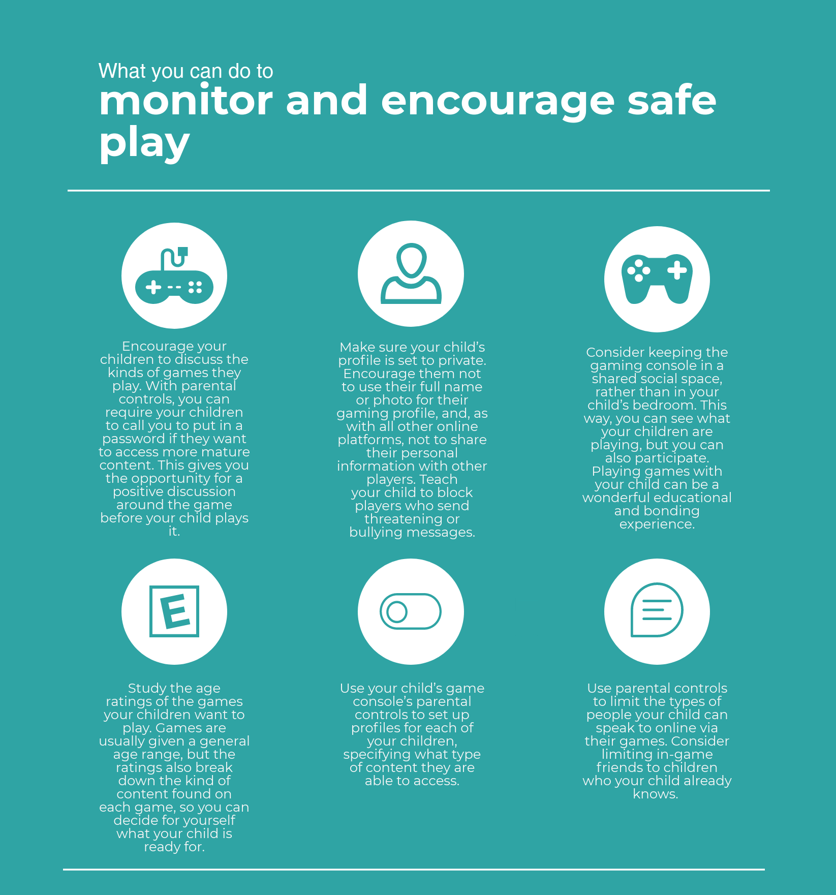 Monitor and encourage safe play infographic