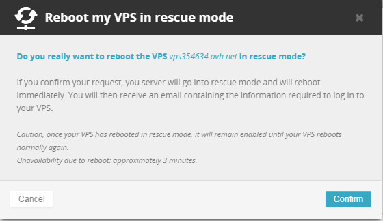 ovh vps rescue mode