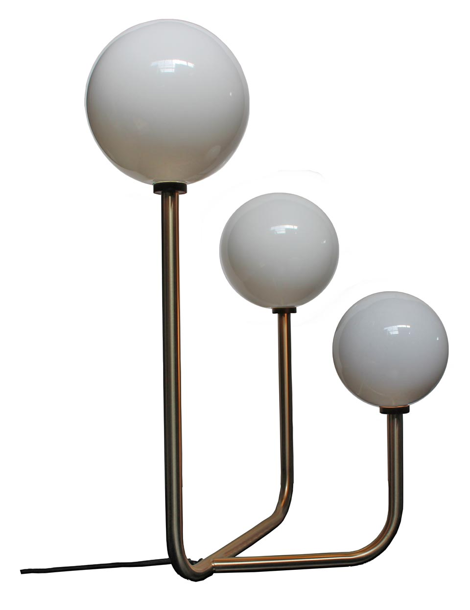 Contemporary Table Lamp Art Deco Inspiration Opal Glass Bubbles Brushed Brass Stand