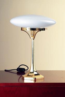 lampe de table globe aplati en verre souffle opale blanc